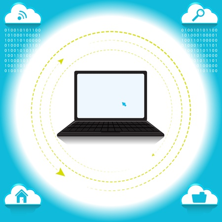 Cloud computing concept based on the idea Stock Vector - 14526352