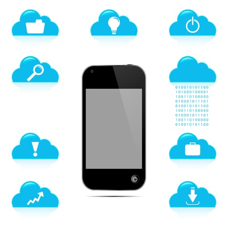 Cell phone graphic with cloud icon   Vector