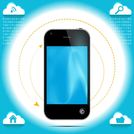 Cell phone graphic with cloud icon  Stock Vector - 14526356