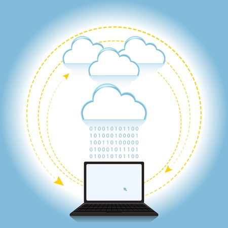 Cloud computing concept based on the idea Vector
