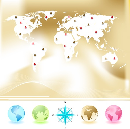 Vector set of World map with four globes and compass Stock Vector - 14526363