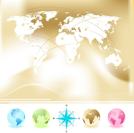 Vector set of World map with four globes and compass Stock Vector - 14526365