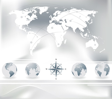 atlantic city: Vector set of World map with four globes and compass   Illustration