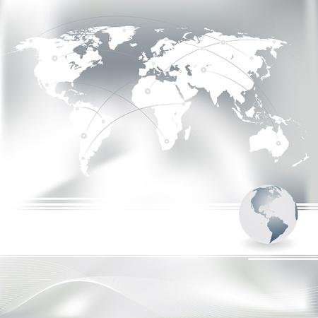 Zusammenfassung grauen Hintergrund und vector set of World map Illustration