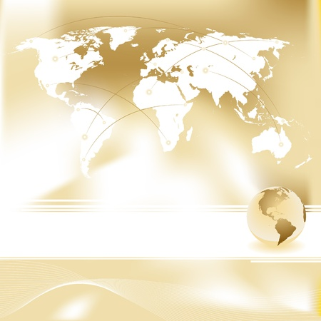 Abstract gold background and vector set of World map Stock Vector - 14526362