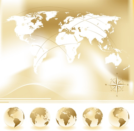 Vector set of World map with four globes and compass   Illustration