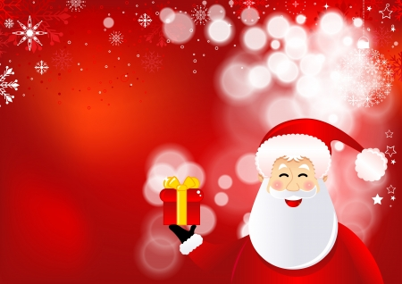 cartoon present: Santa Claus with gifts, Christmas background