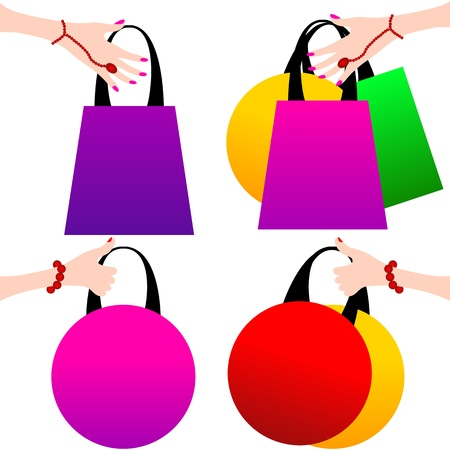 retail shop: Woman with shopping bags isolated on white background  Vector Illustration in retro style