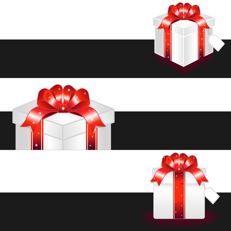 Drawing of red gift box with bow and black banner Stock Vector - 17177186