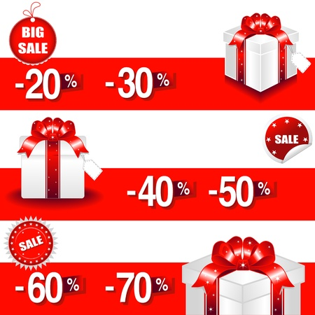 give away: Vector illustration of sale percents and gift box