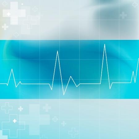 Medical blauen Hintergrund mit ekg Herzschlagmuster Illustration