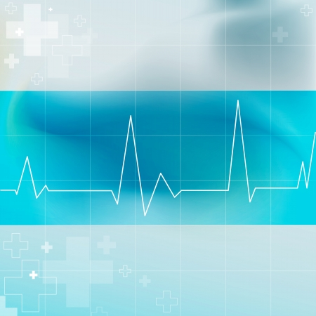 Medical blue background with ekg heartbeat pattern  Vector