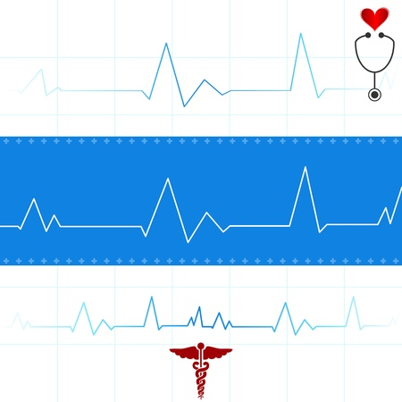 readout: Abstract medical background with univesal medical signs and ecg readout