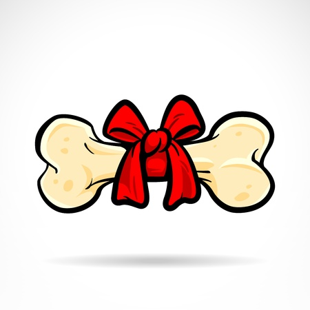 Bone illustration with bowknot. Vector