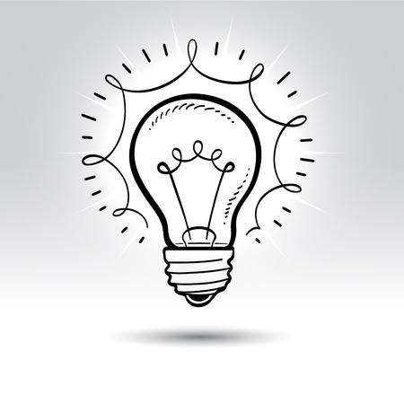 id�e lumineuse: Dessin ampoule. Illustration
