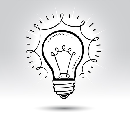 light bulb idea: Light bulb drawing. Illustration
