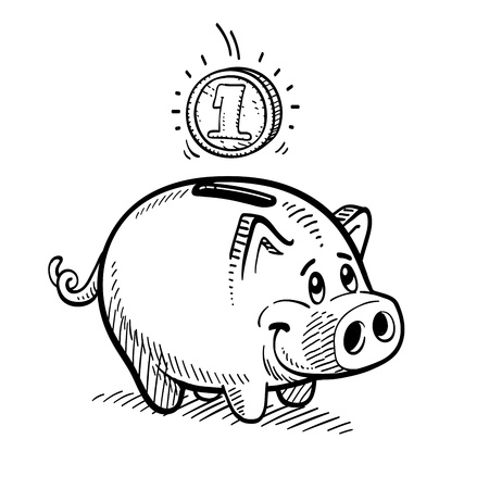 Piggy bank drawing. Vector