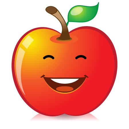 manzana agua: Manzana roja Vectores