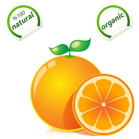 acid colors: fresh ripe oranges with leaves