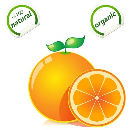 naranjas: naranjas maduras frescas con hojas Vectores
