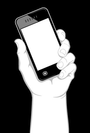 holding smart phone: Hand holding smart phone Illustration