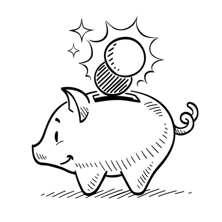 cartoon bank: Piggy Bank Illustration