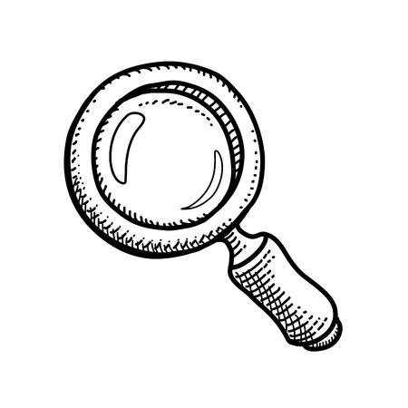 scrutiny: Bosquejo a mano del vector de una lupa