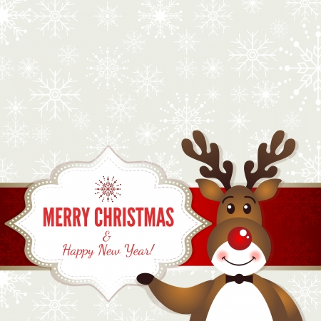 Christmas frame with Rudolph - Illustration Vector