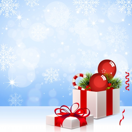 Christmas Background with Gift Box - Illustration