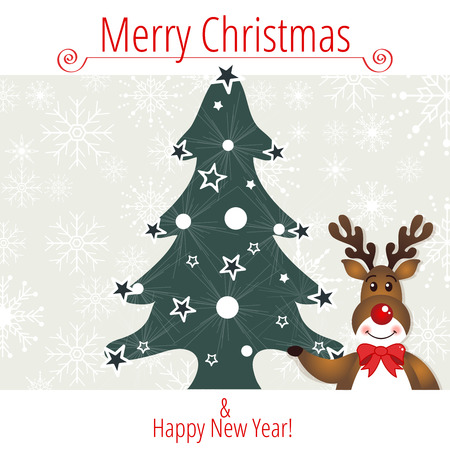Christmas frame with Rudolph Vector