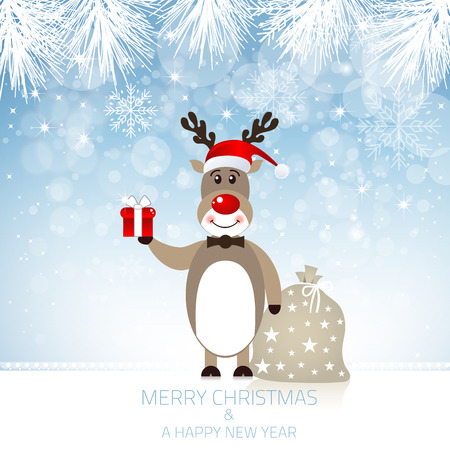 new year s eve: Christmas Design with Cute Rudolph Reindeer Illustration