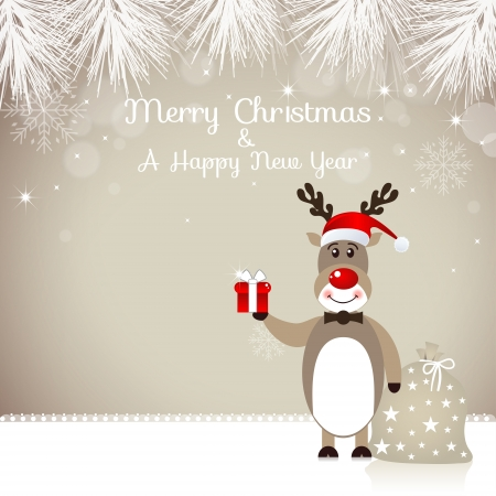 new year s card: Christmas Design with Cute Rudolph Reindeer Illustration