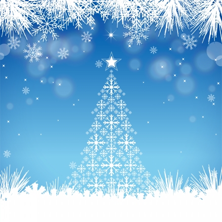 Christmas background with snowflakes  EPS 10 file, contains transparency effects in gradients  Stock Vector - 24019502