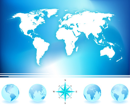 inforgaphic: World map and globes with compass. Illustration