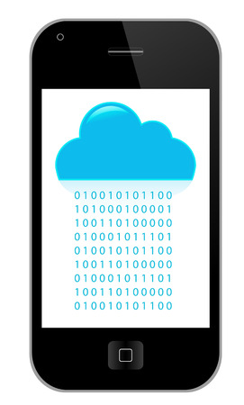 Phone with Modern Technology & Communication Cloud - Illustration Vector