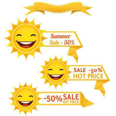 Sun discount tags Vector