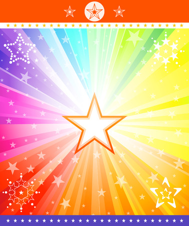 the marshal: Colored explosion with stars. Vector, illustration.