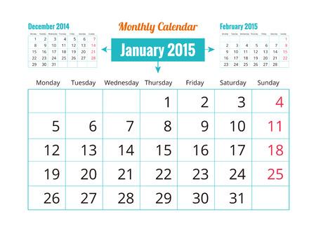 January 2015 Calendar Illustration