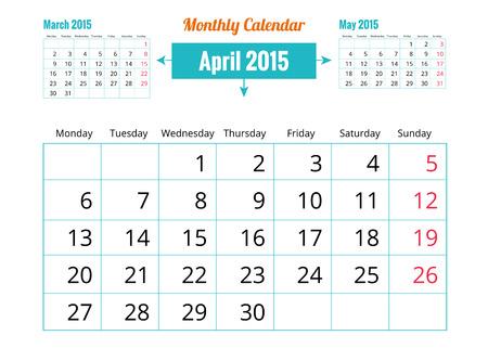 Vector of April 2015 Calendar