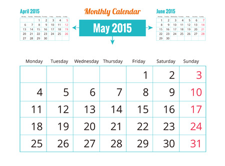 Vector of May 2015 Calendar