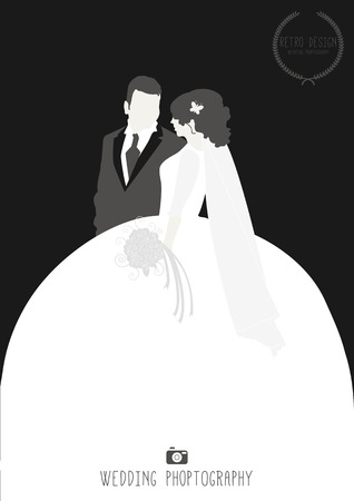 wedding couple silhouette: Bride and Groom So In Love - Illustration Illustration