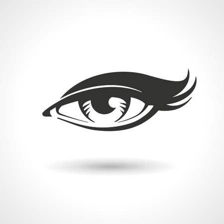 black eyes: Vector lineart drawing of woman eye. Illustration