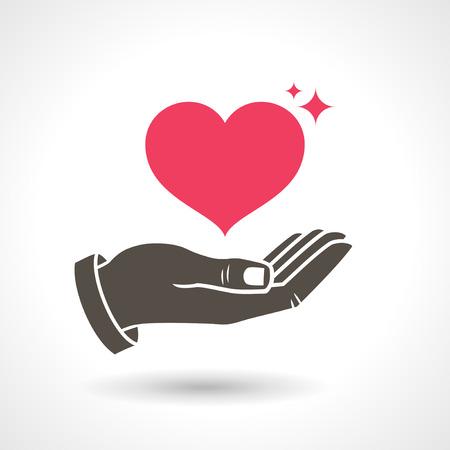 Da La Mano del símbolo del amor. Mano que sostiene la forma del corazón, icono del vector. Ilustración de vector
