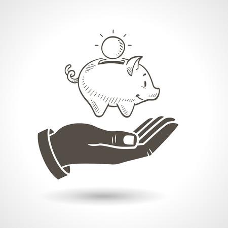 cerdo caricatura: Mano que sostiene una hucha dibujado a mano, icono del vector.