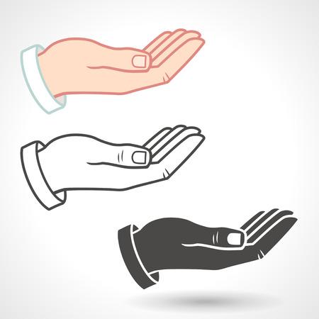 manos logo: Icono de la mano Vector dando gesto.