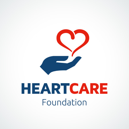 day care: Heart in hand icon template for charity or medical health concepts.