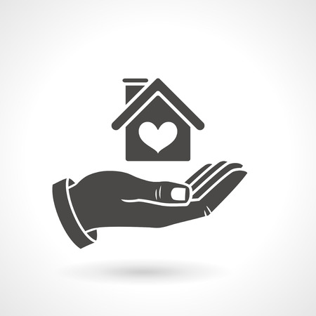 home insurance: Hand holding house symbol with heart shape, vector icon. EPS 10 file.