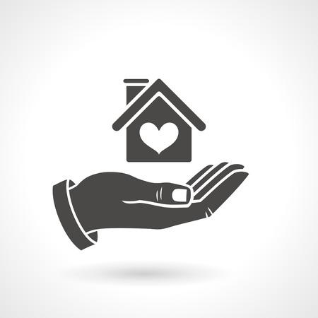 logotipo de construccion: Mano que sostiene el símbolo de la casa con forma de corazón, icono del vector. 10 EPS archivo.