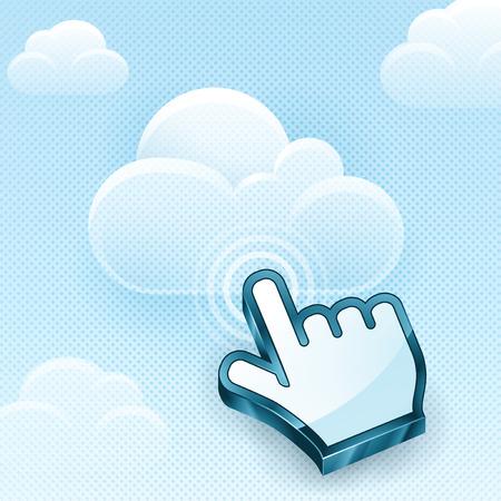 hand cursor: Cloud computing concept with vector hand cursor. EPS 10 file.
