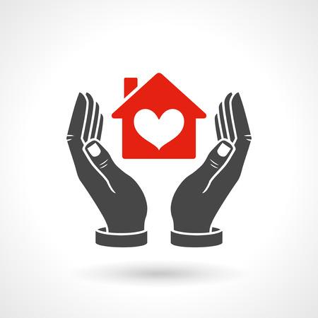 手ハート形、ベクトルのアイコンを持つ家のシンボルです。EPS 10 ファイルです。